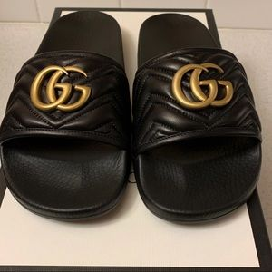 Gucci Leather Matelasse Slides